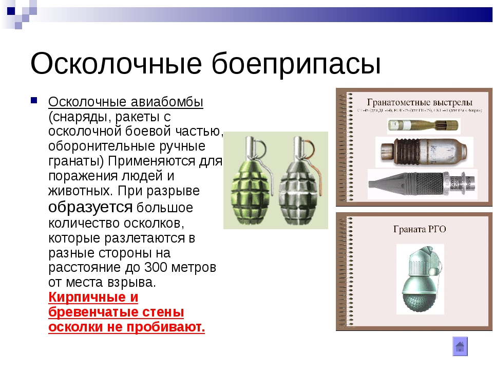 Осколочные боеприпасы Осколочные авиабомбы (снаряды, ракеты с осколочной боев...