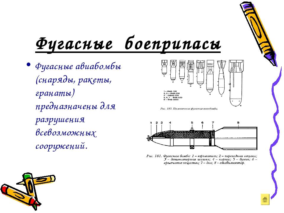 Фугасные боеприпасы Фугасные авиабомбы (снаряды, ракеты, гранаты) предназначе...