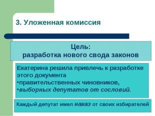 3. Уложенная комиссия Цель: разработка нового свода законов Екатерина решила