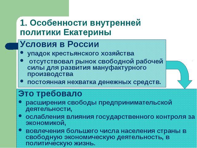1. Особенности внутренней политики Екатерины Условия в России упадок крестьян...
