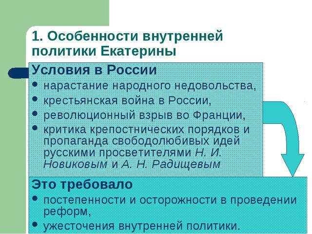 1. Особенности внутренней политики Екатерины Условия в России нарастание наро...