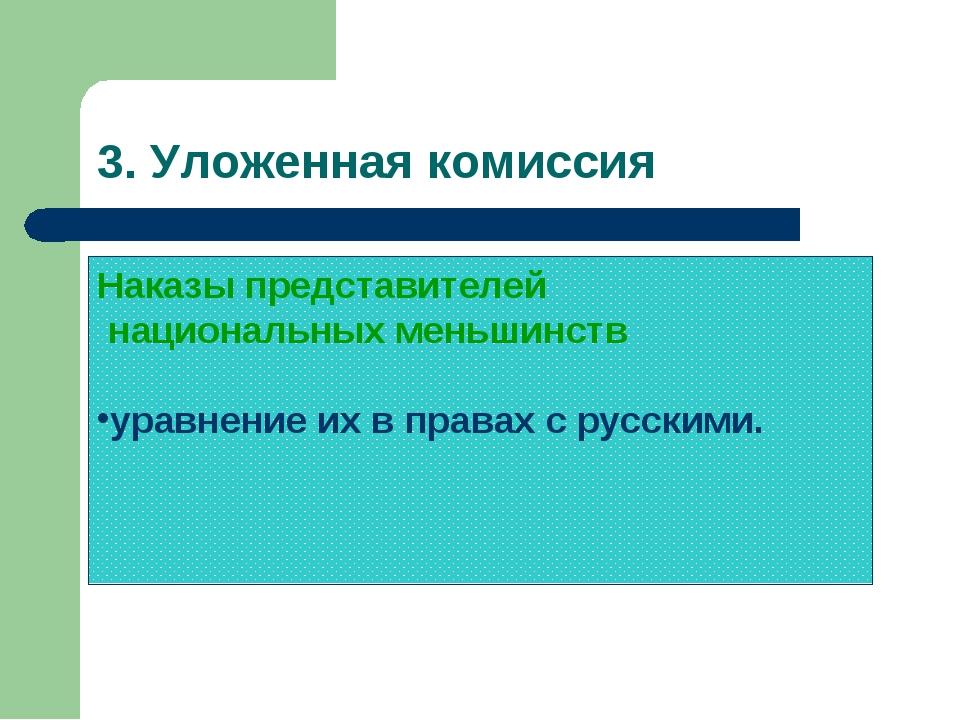 3. Уложенная комиссия Наказы представителей национальных меньшинств уравнение...