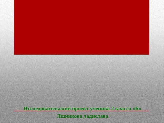 Исследовательский проект ученика 2 класса «Б» Лшникова ладислава