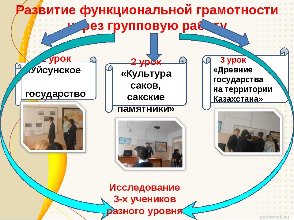 Развитие функциональной грамотности через групповую работу 1 урок «Уйсунское...