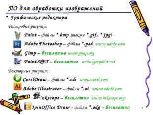 * ПО для обработки изображений Графические редакторы Растровые рисунки: Paint
