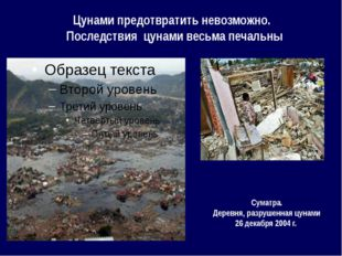 Цунами предотвратить невозможно. Последствия цунами весьма печальны Суматра.