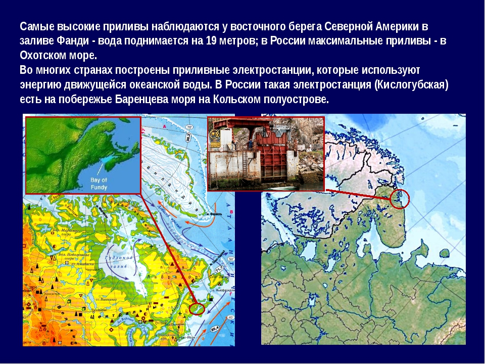 Самые высокие приливы наблюдаются у восточного берега Северной Америки в зали...