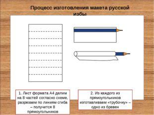 Процесс изготовления макета русской избы 1. Лист формата А4 делим на 8 частей