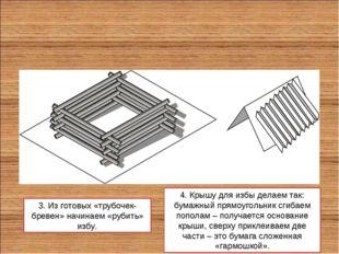 3. Из готовых «трубочек-бревен» начинаем «рубить» избу. 4. Крышу для избы дел