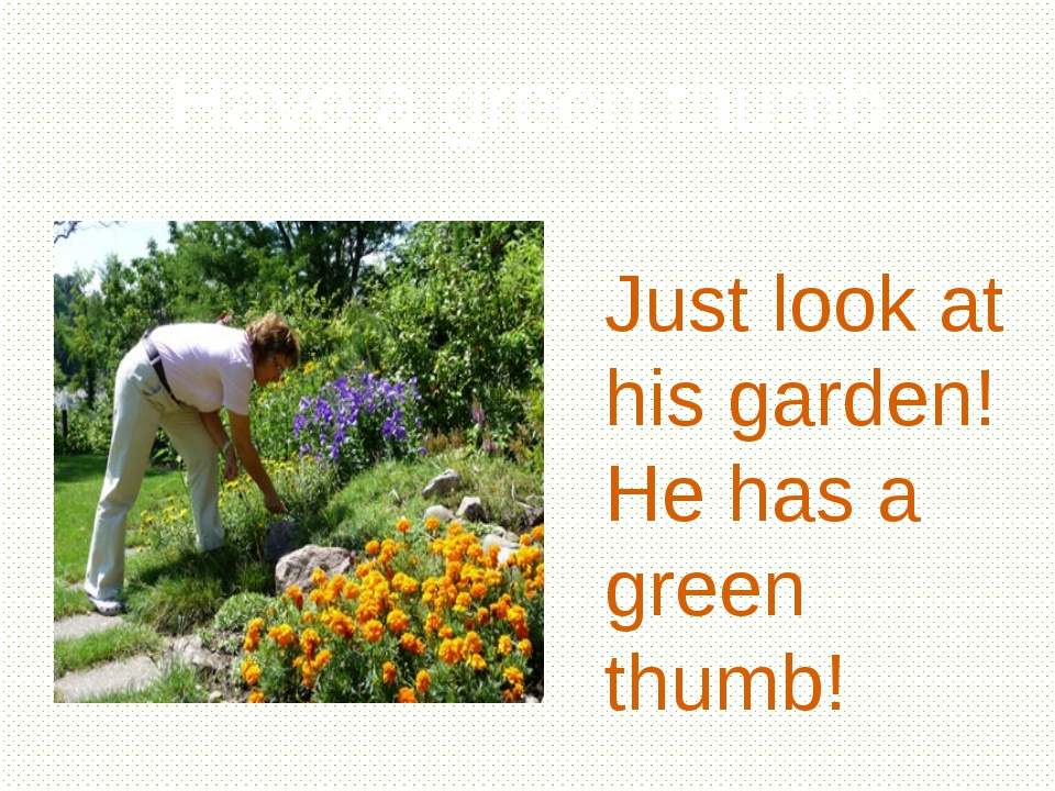 Have a green thumb Just look at his garden! He has a green thumb!