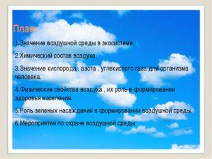 План: 1.Значение воздушной среды в экосистеме. 2.Химический состав воздуха. 3