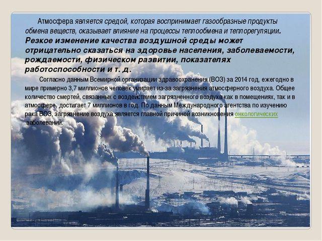 Атмосфера является средой, которая воспринимает газообразные продукты обмена...