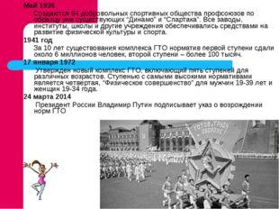 Май 1936 Создаются 64 добровольных спортивных общества профсоюзов по образцу