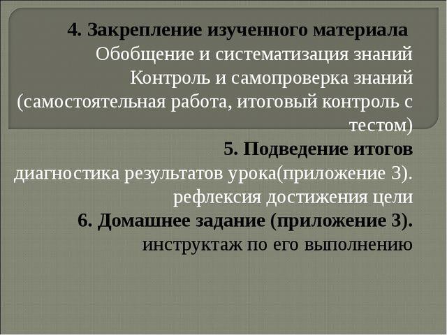 4. Закрепление изученного материала Обобщение и систематизация знаний Контрол...