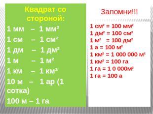 Запомни!!! Квадрат со стороной: 1 мм – 1 мм² 1 см – 1 см² 1 дм – 1 дм² 1 м –