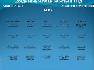 Ежедневный план работы в ГПД Класс 2 «а» Учитель: Маркова М.Ю. ПОНЕДЕЛЬНИКВ