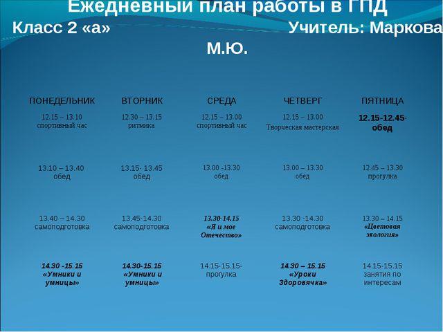 Ежедневный план работы в ГПД Класс 2 «а» Учитель: Маркова М.Ю. ПОНЕДЕЛЬНИКВ...
