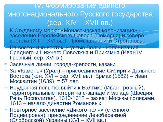 К Студеному морю: «Монастырская колонизация» - заселение Европейского Севера...