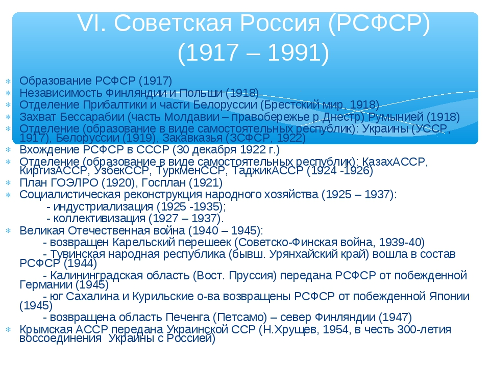 Образование РСФСР (1917) Независимость Финляндии и Польши (1918) Отделение Пр...