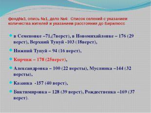 фонд№3, опись №1, дело №4: Список селений с указанием количества жителей и ук