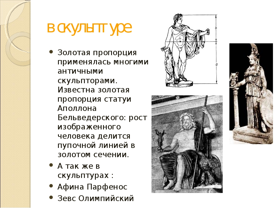 в скульптуре Золотая пропорция применялась многими античными скульпторами. Из...