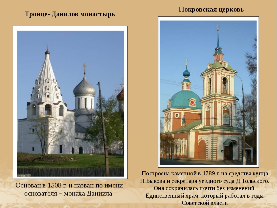 Троице- Данилов монастырь Основан в 1508 г. и назван по имени основателя – м...