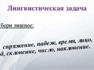 Лингвистическая задача спряжение, падеж, время, лицо, вид, склонение, число,