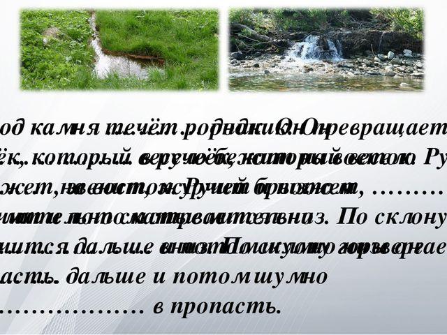 Из-под камня течёт родник. Он превращается в ручеёк, который весело бежит на...