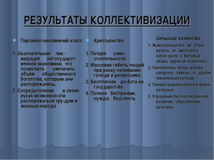РЕЗУЛЬТАТЫ КОЛЛЕКТИВИЗАЦИИ Партийно-чиновничий класс 1. Окончательная ликвид
