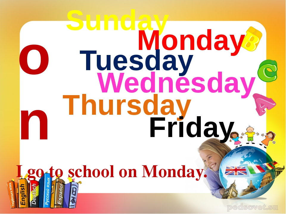 Sunday Monday Tuesday Wednesday Thursday Friday Saturday on I go to school on...