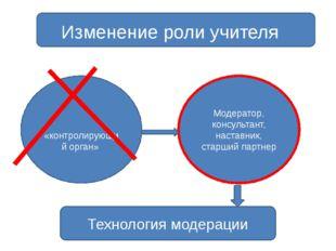 Изменение роли учителя Модератор, консультант, наставник, старший партнер «к