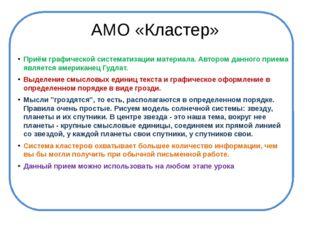 АМО «Кластер» Приём графической систематизации материала. Автором данного при