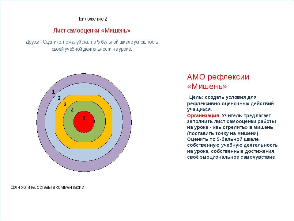 АМО рефлексии «Мишень» Цель: создать условия для рефлексивно-оценочных дейст...
