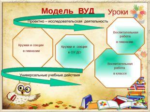 Модель ВУД Уроки Кружки и секции в гимназии Кружки и секции в ОУ ДО Воспитате