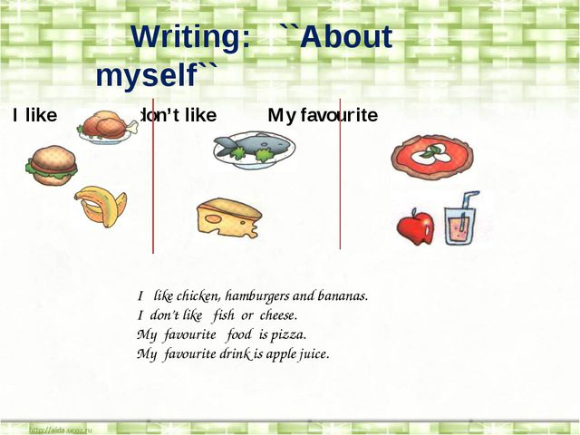 Writing: ``About myself`` I like I don't like My favourite I like chicken, h...