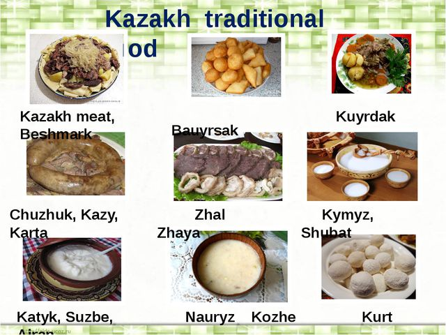 Kazakh traditional food Kazakh meat, Beshmark Bauyrsak Kuyrdak Chuzhuk, Kazy,...