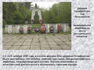 Деревня Селифонтово под Ярославлем мемориальное кладбище на месте расстрельно
