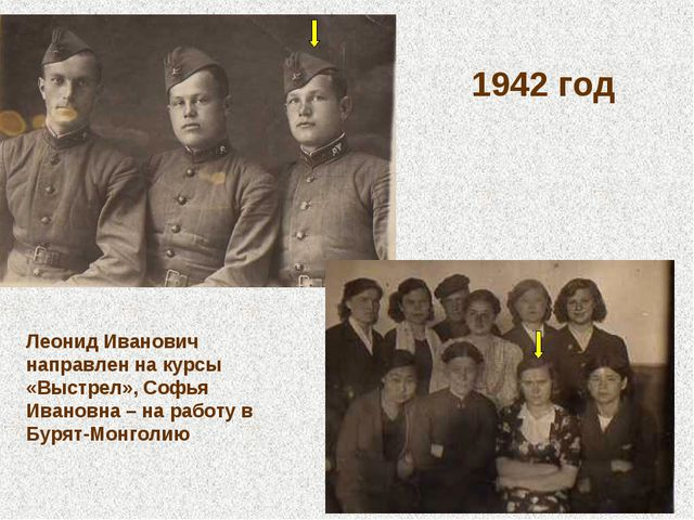 1942 год Леонид Иванович направлен на курсы «Выстрел», Софья Ивановна – на ра...