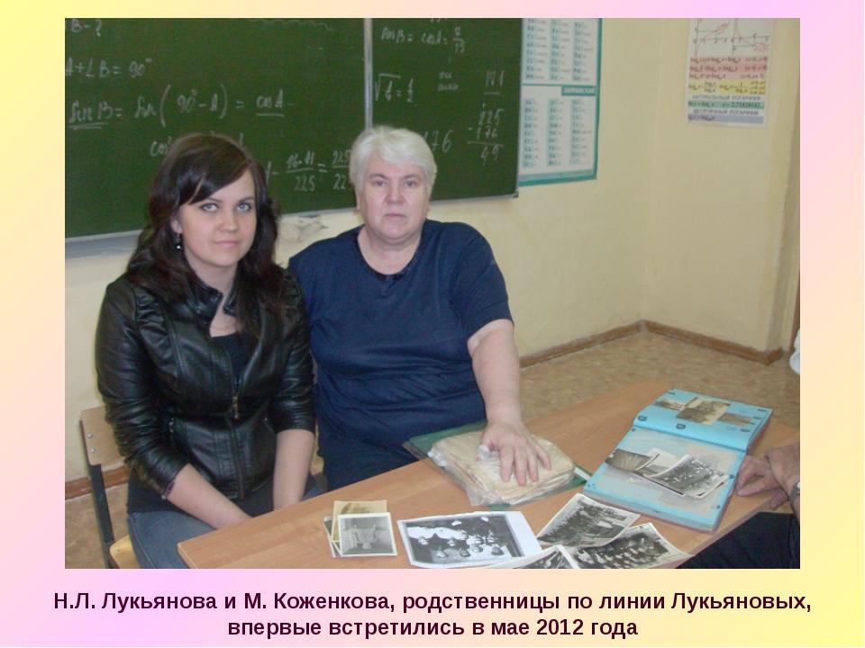 Н.Л. Лукьянова и М. Коженкова, родственницы по линии Лукьяновых, впервые встр...
