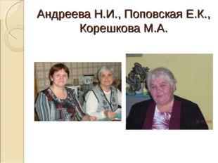 Андреева Н.И., Поповская Е.К., Корешкова М.А.
