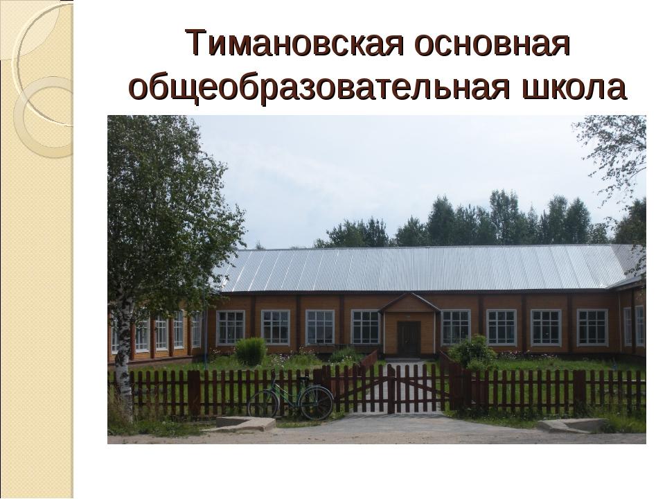 Тимановская основная общеобразовательная школа