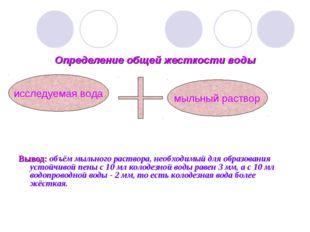 Определение общей жесткости воды Вывод: объём мыльного раствора, необходимый