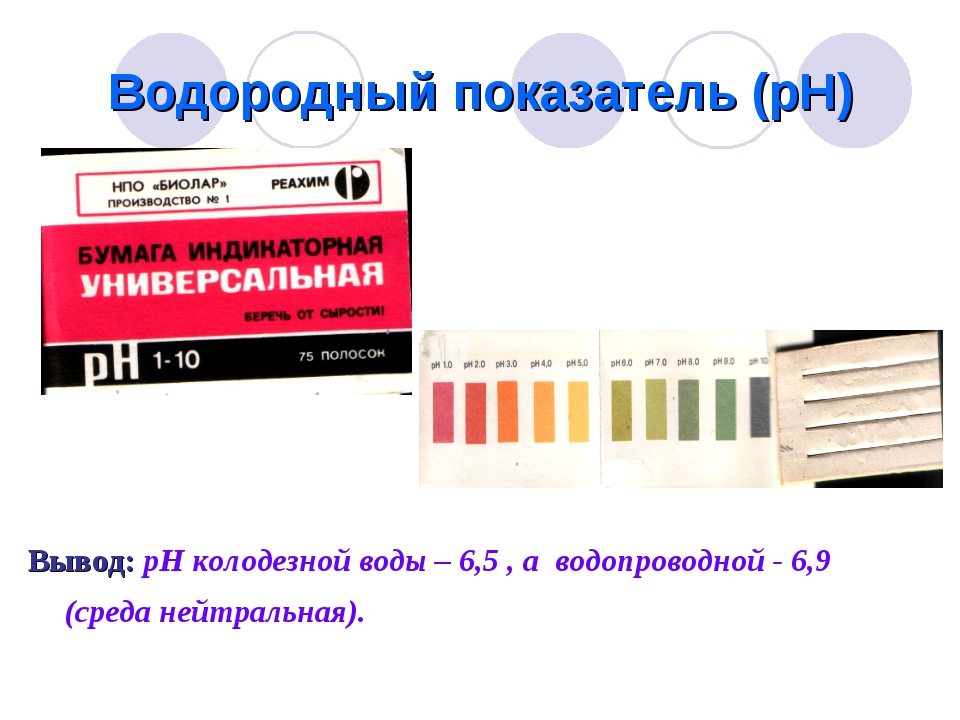 Водородный показатель (рН) Вывод: рН колодезной воды – 6,5 , а водопроводной...