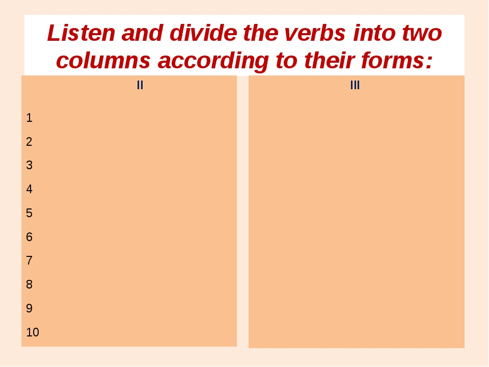 Listen and divide the verbs into two columns according to their forms: II 1 2...