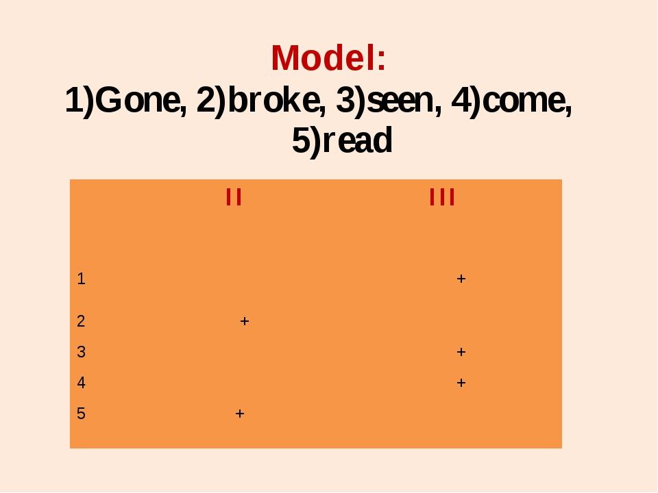 1)Gone, 2)broke, 3)seen, 4)come, 5)read Model: II III 1 + 2 + 3 + 4 + 5 +