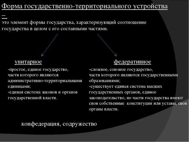 Форма государственно-территориального устройства – это элемент формы государс...