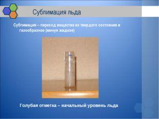 Сублимация льда Сублимация – переход вещества из твердого состояния в газооб