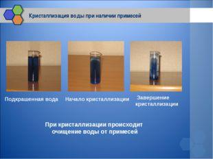 Кристаллизация воды при наличии примесей Подкрашенная вода Начало кристаллиза