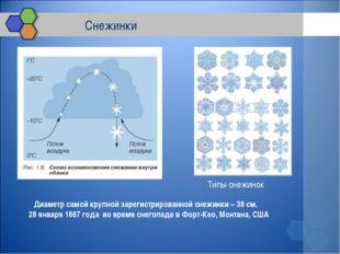 Снежинки Диаметр самой крупной зарегистрированной снежинки – 38 см. 28 янва