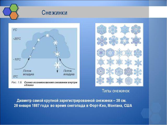 Снежинки Диаметр самой крупной зарегистрированной снежинки – 38 см. 28 янва...